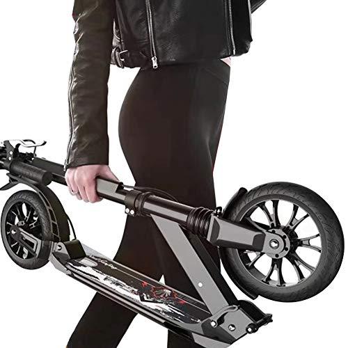 Roller Erwachsene, Adult Kick Scooter mit großen Rädern und Scheibenbremse, Dual Suspension Folding Commuter Scooter mit Tragetasche - Unterstützt 150 kg (Color : Black)