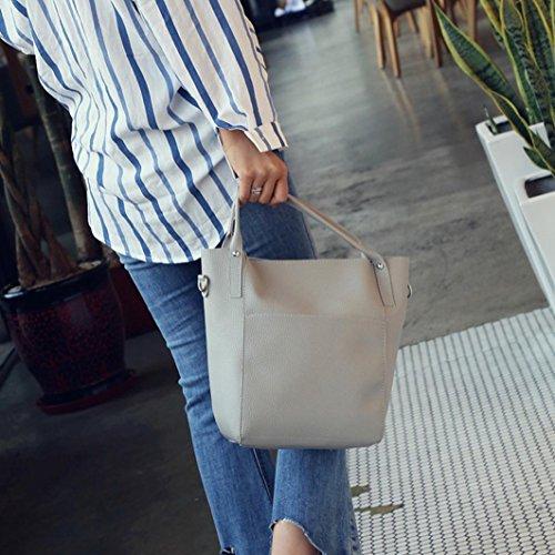 Tasche, ADESHOP Frauen vier Satz Handtaschen-Schulter-Beutel Vier Stück-Einkaufstasche Crossbody-Mappe Grau