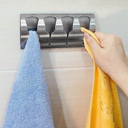 Tatkraft Florida Toallero de Pared para Baño | Colgador Trapos Paños de Cocina Autoadhesivo Fuerte| Ganchos Adhesivos para 4 Toallas | Acero Inoxidable