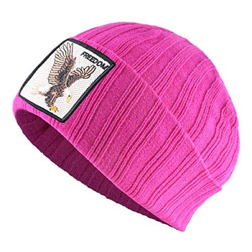 Unexceptionable-Beanie Hat Skullies Beanies Herren Winter Strickmützen Mit Adler Patch Stricken Streetwear Hip Hop Gorras Damen Warme Bonnet Cap TBY @ Pink -