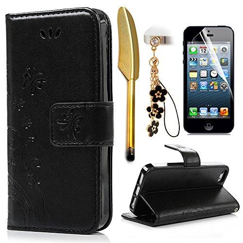 iPhone 5 5S SE Wallet Case iPhone 5 5S SE Flip Hülle YOKIRIN Schmetterling Blumen Muster Handyhülle Schutzhülle PU Leder Case Skin Brieftasche Ledertasche Tasche im Bookstyle in Schwarz