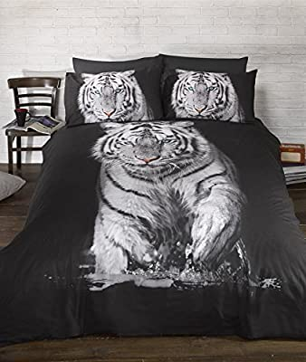 Bedding Heaven Stunning Tiger Duvet Cover. Quirky Photographic Animal Print Quilt Set. Black and White. Single,