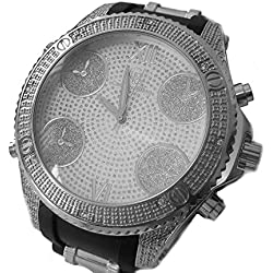 Men's Designer style Iced out Rubber Strap Hiphop Bling Watch