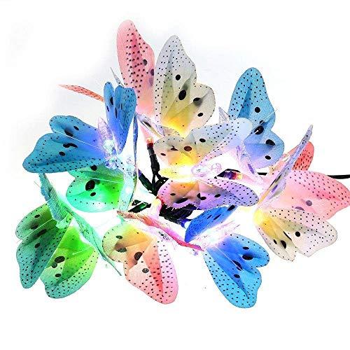 Mr.Fragile Solar Lights 12 LED Fiber Optic Butterfly Lichterketten Für Outdoor, Garten, Zaun, Rasendekor (Multi-Color)