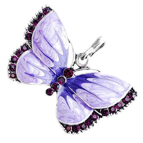 Xiaojing Damen-Halskette mit Schmetterlings-Anhänger Kristall -