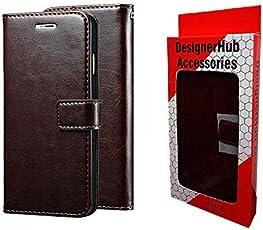 Designer Hub Xiaomi Mi 6A/Redmi 6A Flip Flap Cover Case with Stand/Wallet/Card Holder -Choco