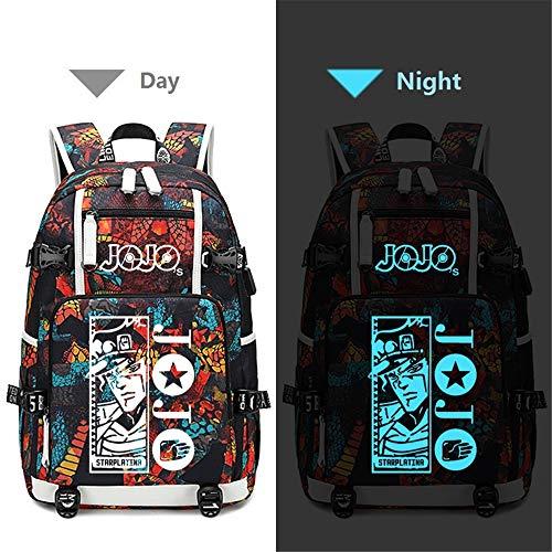 JoJo's Bizarre Adventure Rucksack, aus PU+ mit Oxford-Gewebe, mit USB-Ladeanschluss, Tagesrucksack, Rucksack, (Joseph Kostüm Muster)