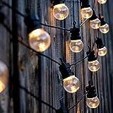 Lumi Jardin Guirlande lumineuse lumière blanche solaire PARTY CLEAR SOLAR 10 globes ronds transparents LEDs 600cm, Noir, 600