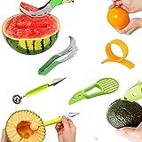 Cortadores para fruta,Cortador de Sandia + Cuchara para melón de doble uso + Cortador de aguacate 3 en 1 + Cortador Pelador de Naranja Opener máquina de cortar