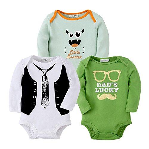Sanlutoz Vêtements bébé garçon Nouveau-né Bodysuit Bébé fille Jumpsuit Unisexe 3 Pack (0-6 mois, R03R12R08)