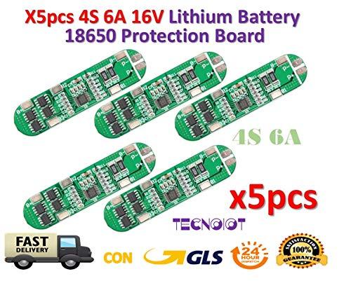 TECNOIOT 5pcs 4S 6A 16V Li-ion Lithium 18650 BMS PCM Battery Protection Board Low Voltage Detection