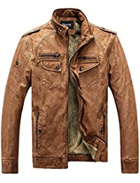 Zicac Mens Autumn Winter Thicken Warm Outdoor Military Slim Fit Long Sleeve Casual Zipped PU Leather Jacket Parka Trench Coats Blazer Windbreaker Outerwear