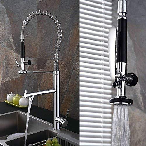 FENG LIAN Moderne Kitchen Sink Mischbatterie, Swivel & Spring Auslauf Pull Out Bar Tap, Kupfer warmes und kaltes Wasser Pumpen Becken Wasserhahn Europäischen Chrome Dish Becken Wasserhahn (Chrome-wasser-pumpe)