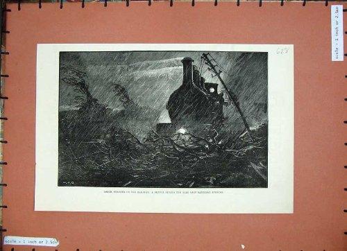 Arte Ferroviaria 1884 della Pioggia di Luce della luna del Treno del Tempo Tempestoso