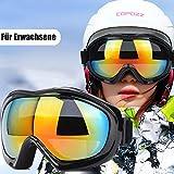 TBoonor Skibrille für Kinder Snowboardbrille für Wintersportarten ski Goggles UV400-Schutz & Windwid (Schwarz)