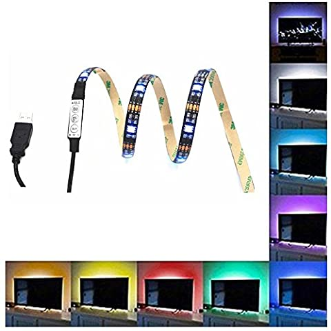EOWJEED 39.4 Inch Bias Lighting for HDTV USB Powered 30 LED Neon Strip Multi Color RGB Strip Accent Lighting Kit for TV PC (Reduce Eye Fatigue and Increa Image