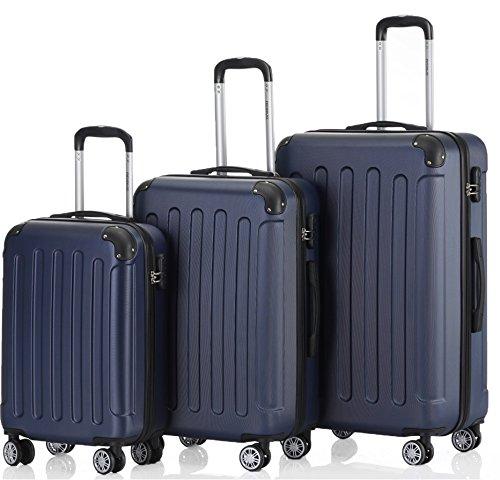 2045 Hartschale Koffer Kofferset Trolley Reisekoffer Größe XL-L-M in 12 Farben (Dunkelblau, Set)
