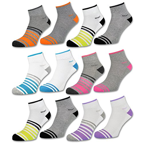 sockenkauf24 6 oder 12 Paar SPORT Sneaker Socken Damensocken verstärkte Frotteesohle - 36850/23 (35-38, 6 Paar | Farbmix)