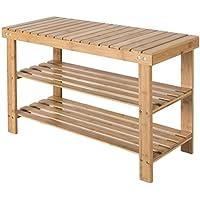 Zapatero de bambú con 2 estantes unidad de pantalla para el pasillo – Ideal de madera