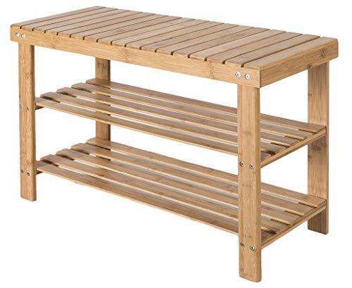 Zapatero de bambú con 2estantes unidad de pantalla para el pasillo–Ideal de madera almacenamiento de zapatos en color marrón natural–Altura 70x 45x 28