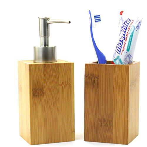 Bambus Seifenspender + Zahnbürstenhalter