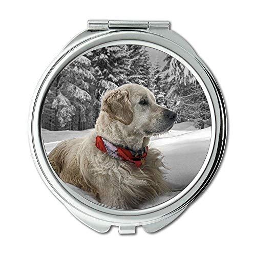 Yanteng Spiegel, Schminkspiegel, Mops Hund Drucken, Taschenspiegel, 1 X 2X Lupe