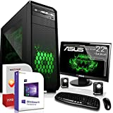 Gaming PC Komplett Set/Multimedia Computer|Win 10 Pro 64-Bit|AMD Quad-Core FX-4300 4x4,0GHz Turbo|Nvidia GeForce GTX 1050 2GB|22 Zoll TFT|8GB DDR3 RAM|1000GB HDD|USB 3.0|HDMI|Gamer PC|3 Jahre Garantie