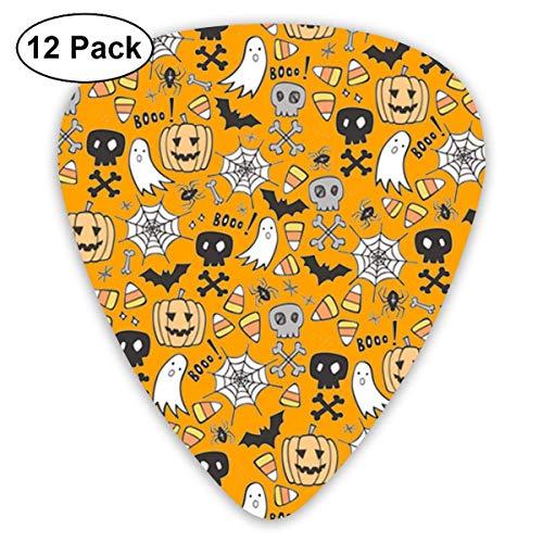 Halloween Skulls Bat Pumpkin Spiderweb 351 Shape Classic Celluloid Guitar Pick For Electric Acoustic Mandolin Bass (12 Count)