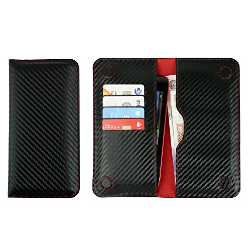Emartbuy® PU Leather Magnetic Slim Wallet Case Cover Sleeve for Panasonic Eluga Icon 2 (Size LM4_Black/Red Carbon)