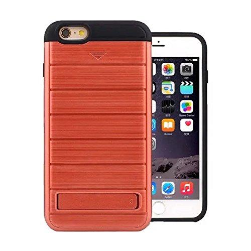"""iPhone 6 Hülle,iPhone 6S Hülle,Lantier Dual Layer Wallet Serie Gebürstetem Metall Textur Schutzmaßnahmen Hard Case Cover mit Kickstand und Kartenfach für iPhone 6/6S 4.7"""" Rosen Gold Brushed Texture Red"""