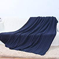 Amabubblezing Manta de Punto Sherpa Throw Gris Knit-Sherpa Rustic Home Decor Manta de Cama (Color : Blue) - Muebles de Dormitorio precios