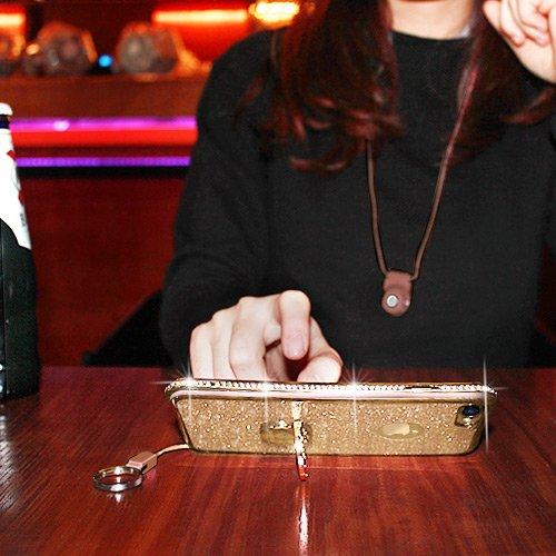 Cover iPhone 6 Plus/6S Plus Glitter Silicone per Ragazze,Kickstand Bling Diamante Brillante Cristallo Lucciante Luminosa Custodia Gel Case per iPhone 6 Plus/6S Plus, 5.5 inch (Trasparente) iPhone 7 Oro