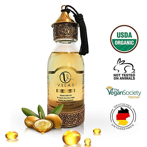 Arganöl Bio PREMIUM Haaröl OHNE Silikon für junge Haut+glatte Haare&Anti-Aging Fair Trade 125 ml kaltgepresst Velas Argan oil