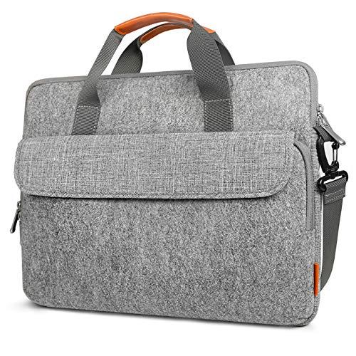 Inateck 15-15,6 Zoll Laptop Schultertaschen, Umhängetasche, Aktentasche aus Filz mit Griff aus Kunstleder, Tasche für Laptop mit bis zu 15,6