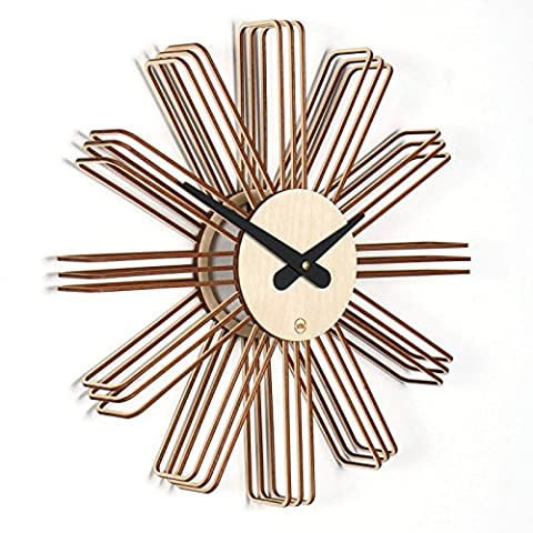 Estrella: Modern Wall Clock Wooden Wall Clock Completely Silent For Living Room, Kitchen, Bedroom, Hall or Office, natural birch