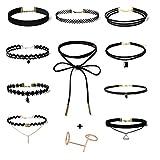 Ularma 10 Stück Kurze Halskette Set Schwarz Stretch Klassische Gotische Tattoo Spitze Kette ohne Anhänger