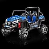 Elektro Spielzeugauto RSX Blue - 2.4Ghz, 2 x 12V, 4 X MOTOR, Fernbedienung, 2-Sitze in Leder, Soft EVA Räder, FM Radio, Bluetooth