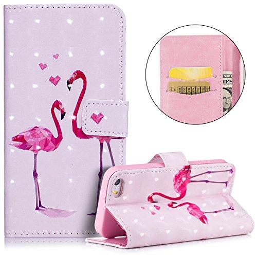 Cover iPhone 5S, Custodia iPhone SE, Cover Flip Portafoglio in Pelle + Case in Silicone TPU Morbido, Surakey 2 in 1 Cassa del Telefono [Elegante Wallet con Porta Carte] Custodia a Libro Chiusa Magneti Flamingo