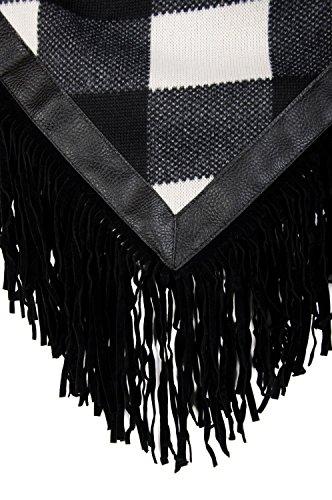 styleBREAKER Feinstrick Poncho mit Karo Muster im 2-Tone Look und Fransen am Saum, Damen 08010002 - Schwarz-Weiß