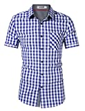 KOJOOIN Trachtenhemd Herren Hemd Freizeithemd Landhausstil Langarmhemd Slim fit Hemd Bestickt Baumwolle - für Karneval, Oktoberfest, Business, Freizeit