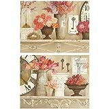 Dcine Cuadros Vintage Motivo Floral Tonos Rosa y Pastel Set 2 Unidades 19 cm x 25