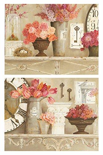 Dcine Cuadros Vintage Motivo Floral Tonos Rosa Pastel