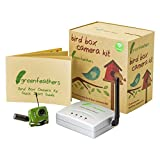 Green Feathers Wireless Bird Box Camera with Night Vision, Wireless Receiver, 700TVL Video and Audio - Perfect for your Garden, Nest Boxes, Bird Houses, Green Camera, Wide Angle Lens, Audio, 940nm Infrared
