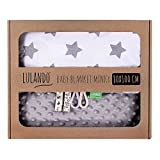 LULANDO Couverture MINKY 80x100 cm, couette, couverture pour poussette, réversible, pour journées fraîches, 100% coton, anti-allergique, certificat Oeko-Tex, Couleur: Gris - Étoiles grises/Blanc
