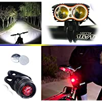 Wii Fire Linterna LáMPARA para bicicletas bici CREE XM-L U2 - Luz LED frontal para manillar de bicicleta (2 focos, 5000 Lumens, 4 modos) con 2 x Luz Luces Lámpara Trasera para Bici Bicicleta