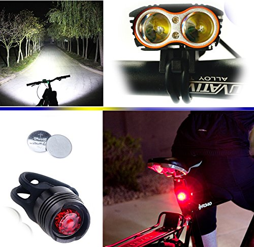 Wii Fire Linterna LáMPARA para bicicletas bici CREE XM-L U2 – Luz LED frontal para manillar de bicicleta (2 focos, 5000 Lumens, 4 modos) con 2 x Luz Luces Lámpara Trasera para Bici Bicicleta