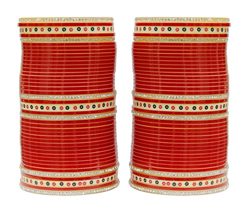 Muchmore Red Brass Bridal Chura/Choora Bangle Set For Women (2.10)