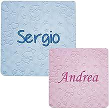 """Mantita para Bebé Personalizada con Bordado de Nombre para Coche o Minicuna - Modelo """"Ositos Globo"""" - Color Rosa o Azul."""