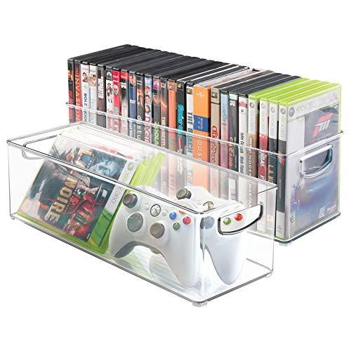 mDesign 2er-Set Aufbewahrungsboxen - Schubladen Organizer zum Verstauen von CDs, DVDs oder Schreibwaren - stapelbare Aufbewahrung für Büro, Bad und Küche - durchsichtig