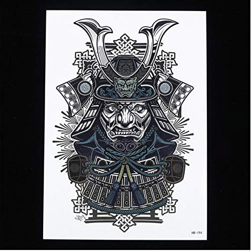 Coole schönheit samurai krieger body art paint tattoo 14,8 cm x 21 cm dimensione temporarian tattoo-aufkleber